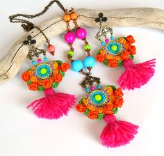 funky pendant mexican necklace ethnic pom pom by Marmotescu