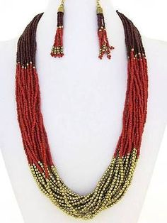 MULTI STRAND TWO TONE RED GLASS SEED BEAD GOLD TONE BEAD LONG NECKLACE EARRING