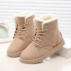 Hot Sale Women Boots Warm Winter Boots Women Shoes Lace Up Fur Ankle Snow Boots Women Winter Shoes Black Ankle Snow Boots, Snow Boots Women, Fur Boots, Suede Ankle Boots, Boots For Women, Suede Shoes, Snow Boots Outfit, Cute Snow Boots, Beige Boots