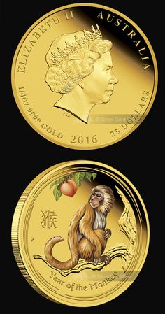 For 2016, the Perth Mint's internationally renowned Australian Lunar Silver Coin Series II celebrates the Year of the Monkey, the ninth animal in the 12-year cycle of the Chinese zodiac. Buy 1/4 oz Perth Mint Year of the Monkey Colourized Gold Proof Coins at www.SilverGoldBull.com #yearofthemonkey