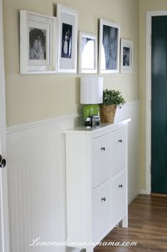 beadboard walls + IKEA shoe cabinet...love it and wish we had space for it! {Lemonade Makin' Mama}