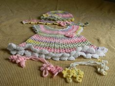 Little Sweetie dress and accessories. hat, headband, barefoot sandals.