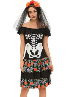 Flouncing Design Skeleton Print Halloween Costume on sale only US$32.83 now, buy…