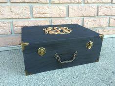 Large Engraved Wooden Suitcase - Card Or Keepsake Box - Custom - Monogram - Black & Gold Wedding