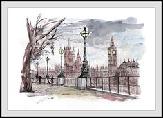 Watercolor painting ORIGINAL LONDON Picture Paper 180g #IllustrationArt