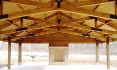 Beautiful Timber Frame Interior of Fort Harrison Pavilion
