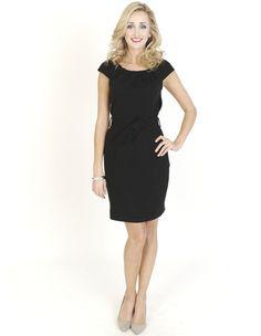 Black Dresses - Lace Back Belted Shift Black Dress - http://www.blackdresses.co.uk