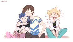 (Miraculous: Tales of Ladybug and Cat Noir/Quantic Kids) Marinette, Kid Mime and Adrien