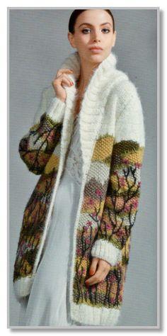 Вязание спицами. Пальто с жаккардовым узором в технике интарсия. Размер 34/36, 38/40, 42/44, 46/48, 50/52
