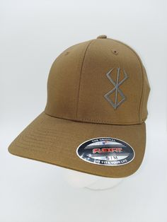 Berserker on Coyote Tan Flex Fit Twill Baseball Cap: Gifts for Men, Viking Designs, Viking Gifts