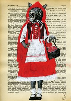 Little Red Riding Hood - Cat Art Illustration - Original Mixed Media Painting on 1920s Vintage Paper Italian Dictionary, $9.00
