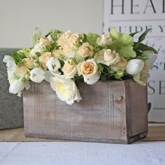 Reclaimed Wooden Box Wedding Centrepiece