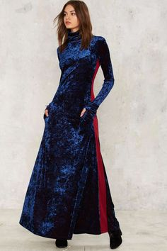 Nasty Gal Blue Velvet Solid Maxi Dress