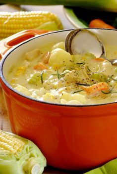 Chicken & Corn Chowder: soup made with fresh veggies and chicken breast, and finished off with cream.