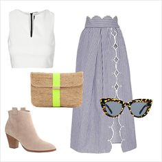 Brunch / daytime outfit idea: midi skirt, crop top and booties for a date