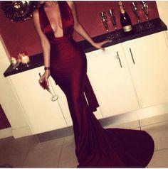 Sexy Burgundy Evening Dress,Mermaid Burgundy Party Dress,Deep V-neckline