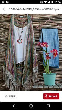 Bo-M: Robe Manteau II + Colar crochet vest Gilet Crochet, Crochet Vest Pattern, Crochet Cardigan, Knitted Shawls, Crochet Scarves, Crochet Shawl, Crochet Clothes, Crochet Lace, Crochet Stitches