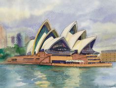 "Items similar to 8 x 10 Print of Sydney Australia Watercolor - ""Passing Through Sydney Harbor"" on Etsy Watercolor Fruit, Watercolour, Watercolor Paintings, Watercolor Architecture, Architecture Art, Anime Drawings Sketches, Art Drawings, Building Drawing, Simple Canvas Paintings"