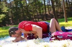 Our pillow fight engagement photo