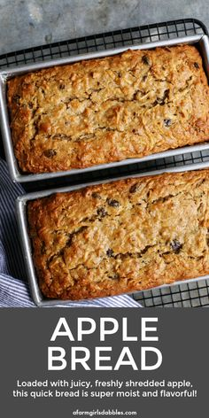 recipe Apple Bread from afarmgirlsdabbles. - A quick and easy apple bread recipe that's loaded with shredded apples, ensuring moist, delicious fresh apple flavor and texture in every bite! Apple Cake Recipes, Apple Nut Bread Recipe, Apple Loaf Cake, Healthy Apple Cake, Apple Pie Bread, Apple Muffins, Apple Desserts, Bread Recipes For Oven, Cooking Apple Recipes