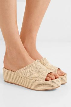 80e4e7123e8 Carrie Forbes - Karim Woven Raffia Wedge Sandals - Beige