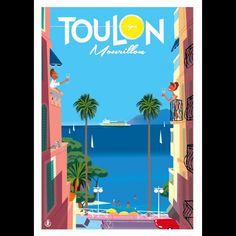 Z - Mourillon Apéro Balcon Monsieur Z - Toulon - Mourillon - apéro balconMonsieur Z - Toulon - Mourillon - apéro balcon Vintage Travel Posters, Vintage Postcards, Poster Art, Poster Prints, Jpg To Vector, Old Commercials, Travel Illustration, Explore Travel, Advertising Signs