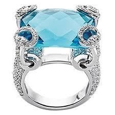 "Gucci ""Horsebit Cocktail"" sky blue topaz and diamond ring set in 18 kt white gold."