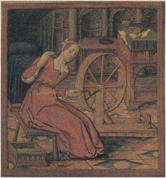Woman spinning on a great wheel turned by a crank. c. 16th century France MS 17, Musee Dobree, Nantes