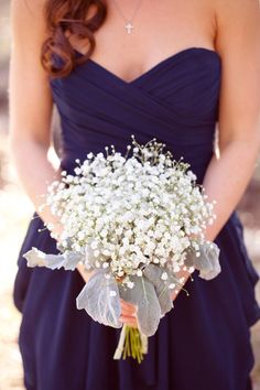 Baby's Breath as the Bridesmaid's bouquet. - Pretty dress!  http://www.pinterest.com/JessicaMpins/