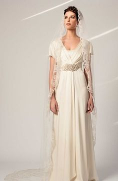 V-Neck Sheath Wedding Dress  with Natural Waist in Satin. Bridal Gown Style Number:32989394