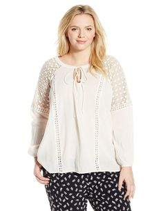 Jessica Simpson Plus Size 2X Lace Peasant Long Sleeve Top Shirt Blouse NWT Cream #JessicaSimpson #PeasantLongSleeveTop #Casual