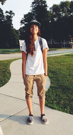 Khakis, all day every day | This outfit is soo laid back and casual,even though it's setting a male would wear..girls can totally rock it...especially with the hat and shoess