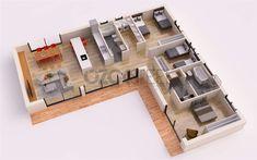 L Shaped House Plans, 3d House Plans, House Layout Plans, Dream House Plans, House Layouts, Small House Plans, Courtyard House Plans, Home Building Design, Home Design Plans