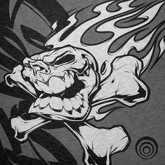Client WIP #illustration #skull #inks #design #logo #mascot #flames #bones #art
