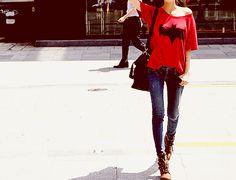 red BATMAN tee + brown lace booties
