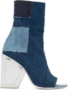 Off-White - Blue Denim Patchwork Boots