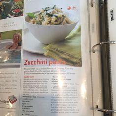 Page one of zuchini pasta recipe. Add more garlic and salt and pepper than recipe calls to and add chicken.