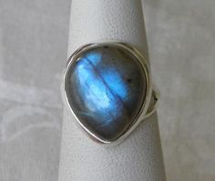 Handmade Labradorite Ring Natural Blue Flash Semiprecious 18x15mm Gemstone 925 Silver Band Size 6 1/2 Take 10% Off Summer Bridal Sale