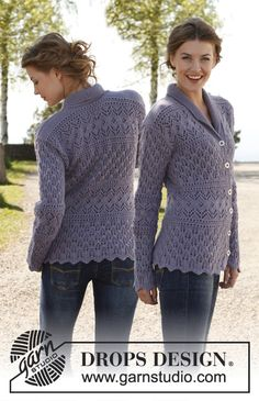 "Free pattern: Knitted DROPS fitted jacket with lace pattern and shawl collar in ""Karisma"". Size: XS - XXXL."