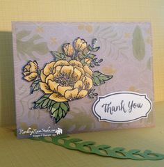STAMPS: Birthday Blooms and Rose Wonder (sentiment). PAPER: DSP, Thick Whisper White, Botanical Gardens Vellum DSP. INK: VersaMark, Basic Black, Pear Pizzazz, Crushed Curry, Certainly Celery, Daffodil Delight. OTHER: Rose Garden Thinlits Dies, Wink of Stella (gold and Clear), Aqua Painter, Black Embossing Powder.