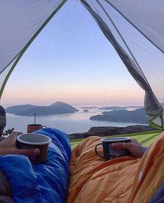 Breakfast in bed #fromthetent #coffeewithaview : @davidvassiliev #grandcamping… #hiking #carcampingbreakfast