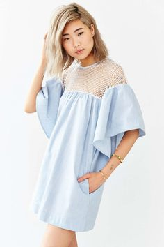 Cooperative Carnaby Street Lace-Shoulder Dress - Urban Outfitters