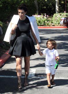 Kim Kardashian wearing Yves Saint Laurent Metallic Cage Booties Celine Black Skirt Dress