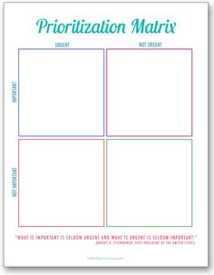 I really need help learning how to prioritize everything, and this Eisenhower Matrix looks super helpful! Time to get all of my priorities in order so I can be more productive.