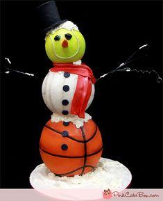 Sporty Snowman Birthday cake