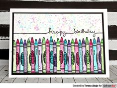 Card by Teresa Abajo using Darkroom Door Crayons Eclectic Stamp and String Sentiment Stamp Set