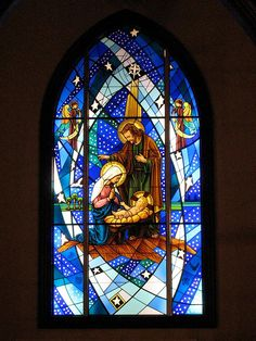 Birth of Christ Stained Glass Church, Faux Stained Glass, Stained Glass Windows, Christmas Nativity Scene, Christmas Tree Wreath, Catholic Art, Religious Art, Tree Of Jesse, Egypt Art