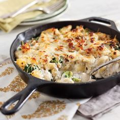Chicken and Broccoli Skillet Casserole - Taste of the South cast iron change to gluten free white sauce and try
