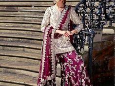 Embroidered Chiffon Dress with Embroidered Silk Trouser For more details and real pictures visit: PakStyle. Pakistani Formal Dresses, Pakistani Wedding Outfits, Pakistani Bridal Dresses, Pakistani Wedding Dresses, Pakistani Dress Design, Bridal Outfits, Indian Dresses, Indian Outfits, Pakistani Sharara