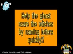 FREE PowerPoint!!!  This PowerPoint will engage your students in fast-paced practice of letter names and/or sounds. Simply start the presentation and watch as your students name letters quickly. Every second, the letter on the screen changes as the ghost moves closer to the witches!! In 30 seconds, your students have named all uppercase letters. You can also have the students name the sounds, instead of the letter names. Students will beg to do this presentation over and over!